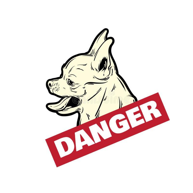 导航小狗的手拉的例证与开放嘴和舌头的 向量例证