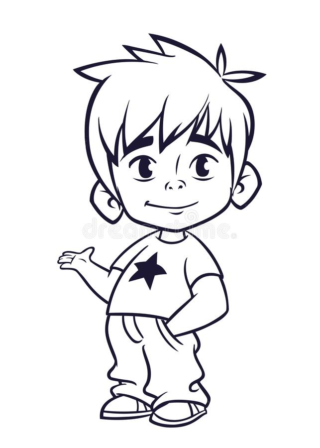 导航小男孩的例证人` s衣裳概述的 一个年轻男孩的动画片 库存例证