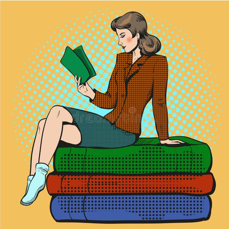 导航少妇阅读书的流行艺术例证 皇族释放例证