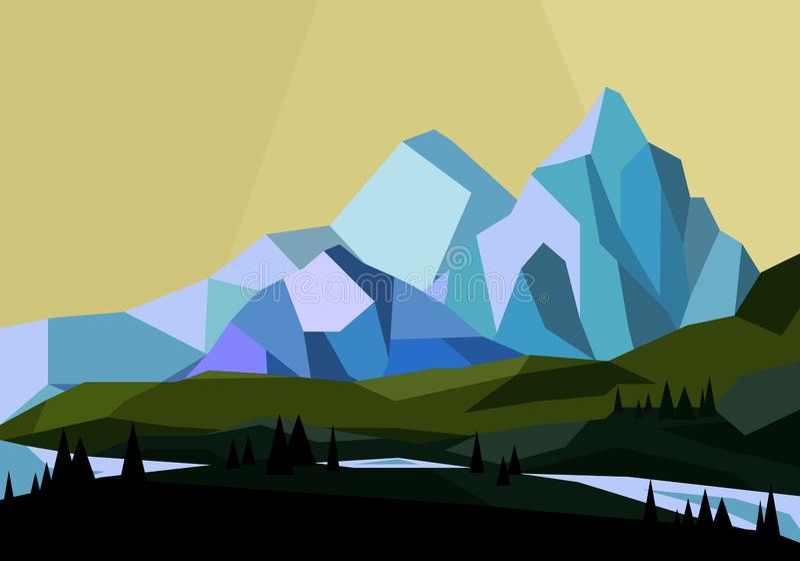 导航山的例证环境美化在几何样式,低多平的山景 向量例证