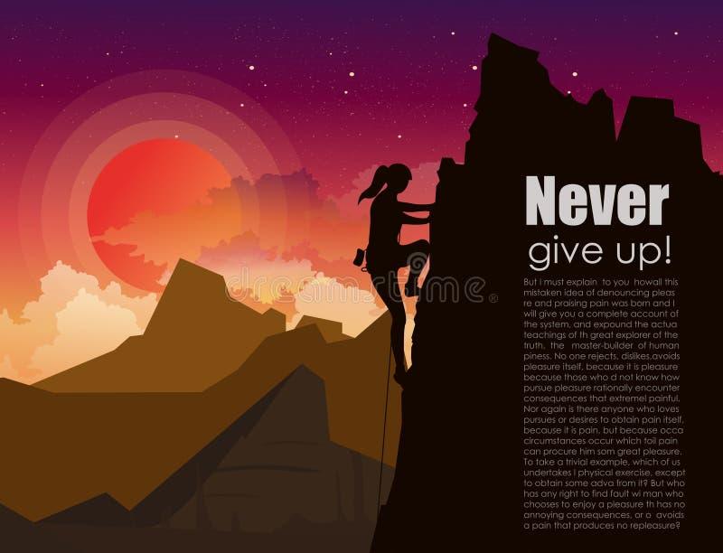 导航山的登山妇女的例证晃动在与星的日落天空并且覆盖背景  皇族释放例证