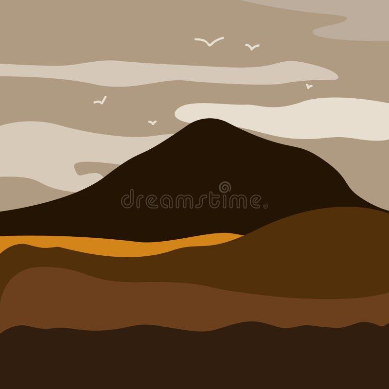 导航山风景的例证与森林和飞鸟的在与黎明的多云天空下 皇族释放例证