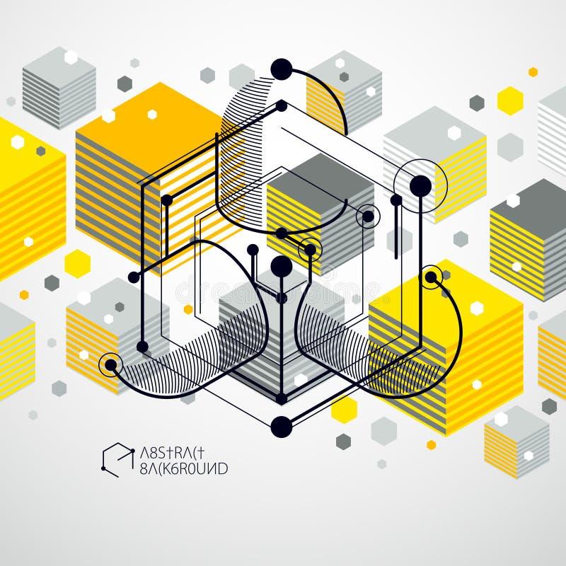 导航工业和设计黄色背景,未来技术 库存例证