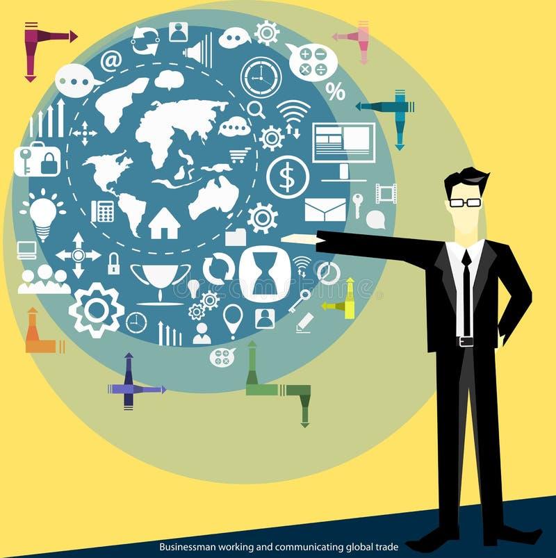 导航工作和传达全球性商业平的设计的商人 向量例证