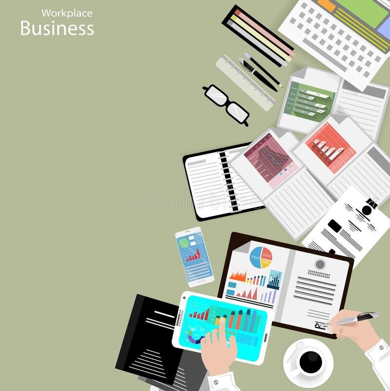 导航工作场所商人观看对现代通讯技术,笔记本,片剂,手机,玻璃, pe的使用 库存例证