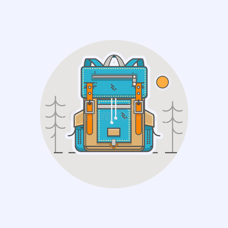 导航带着动画片平的背包和体育手提箱的例证在现代平的线性样式 库存例证