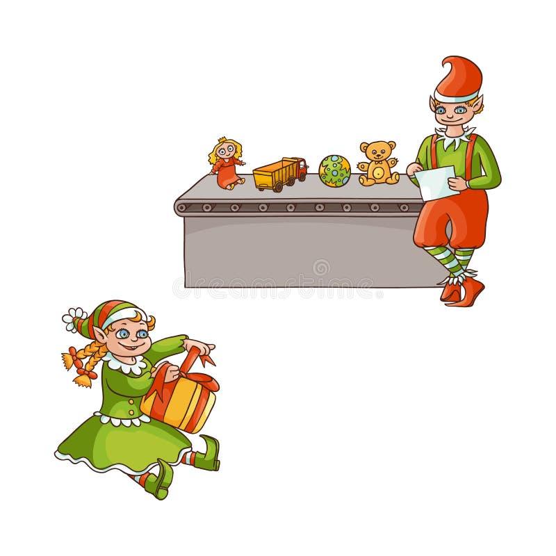 导航平的矮子男孩,女孩被设置的圣诞节场面 库存例证