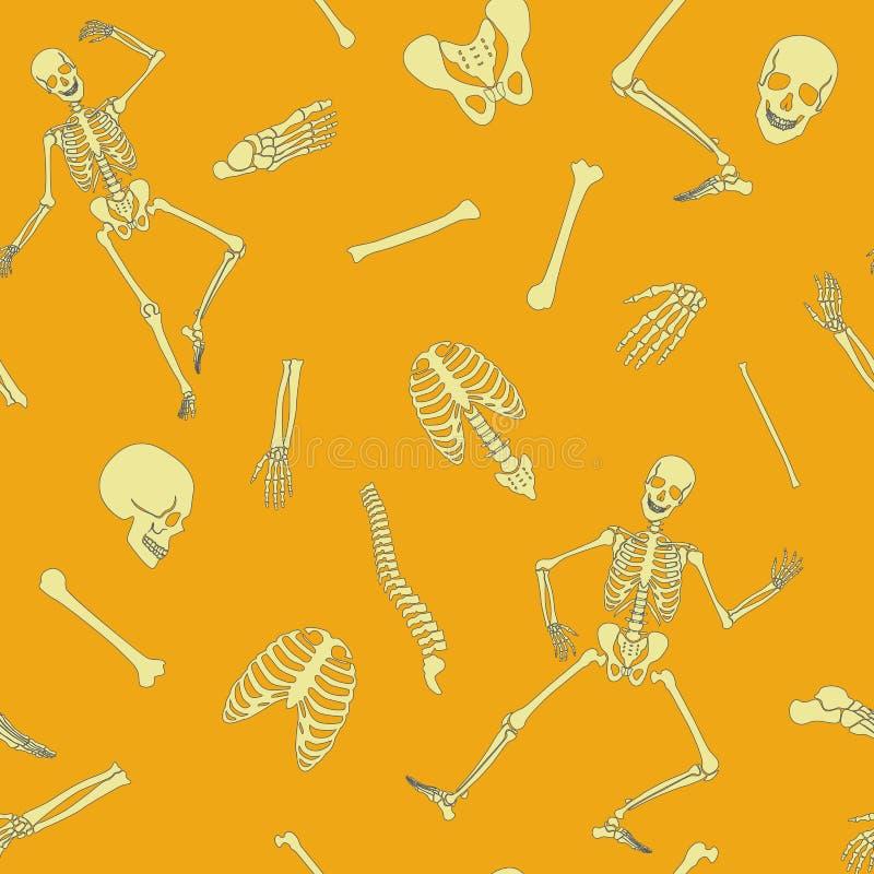 导航平的线与各种各样的唯一骨头和头骨的人的最基本的无缝的样式 库存例证