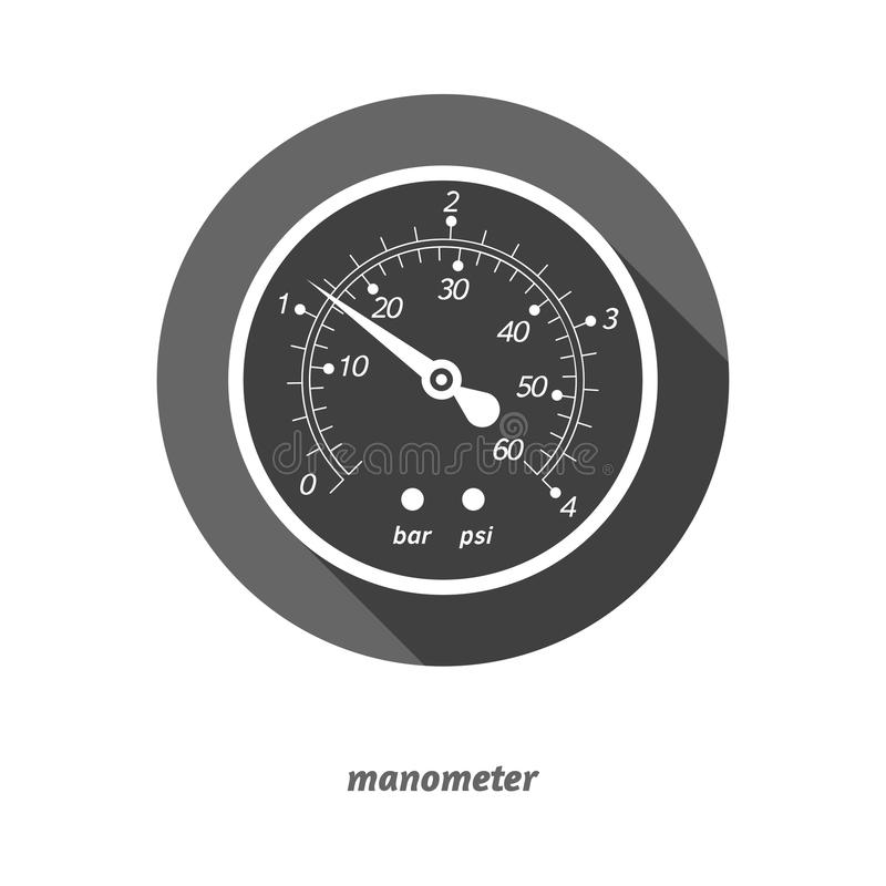 导航平的被称呼的测压器的例证有下落阴影的 库存例证