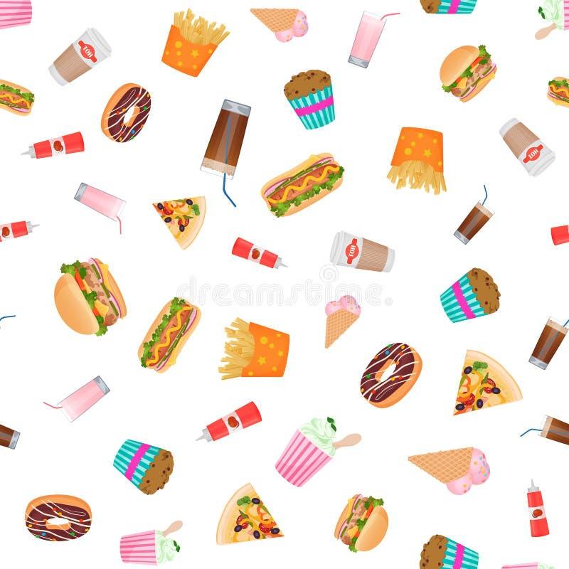 导航平的设计快餐无缝的样式墙纸 库存例证