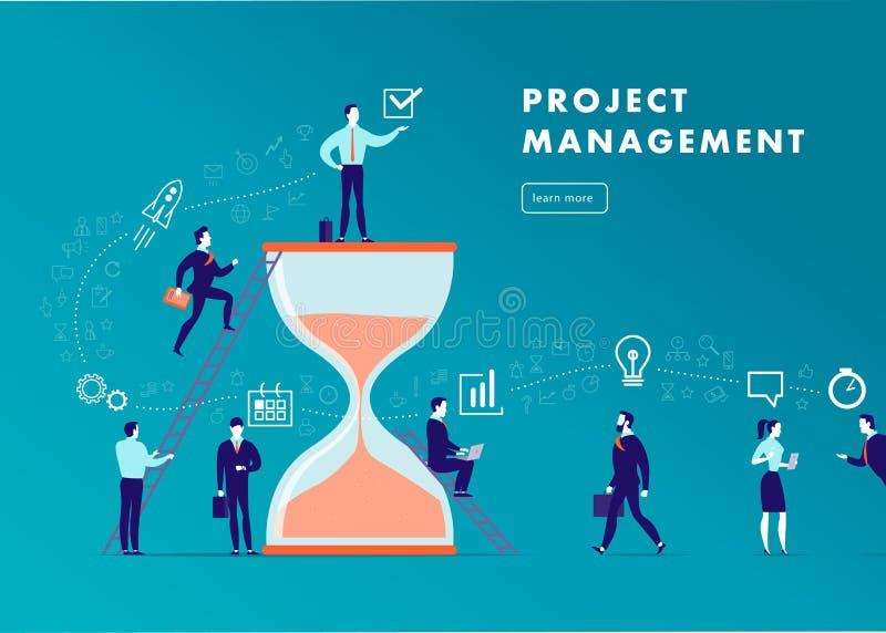 导航平的minimalistic企业例证-项目管理,队工作,时间安排,营业通讯,工作流 库存例证