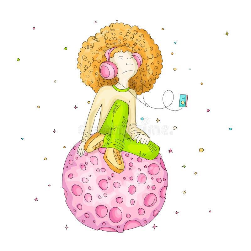 导航年轻红头发人女孩的例证有耳机的,坐桃红色动画片月亮和听的音乐 少年 向量例证