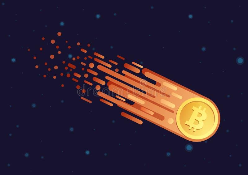 导航彗星的动画片例证与金黄bitcoin标志飞行的在开放星系空间 Bitcoin下跌的下来 库存例证