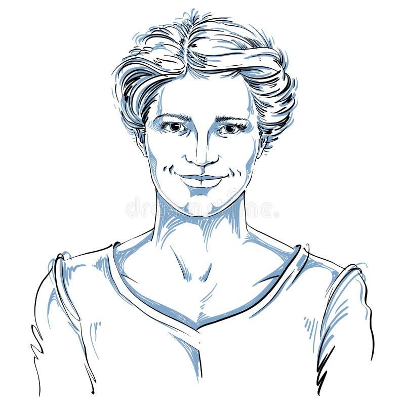 导航微笑的妇女图画有时髦的理发的 投反对票 皇族释放例证