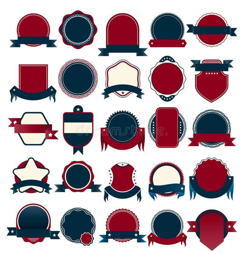 导航徽章汇集待售和保证标记 皇族释放例证