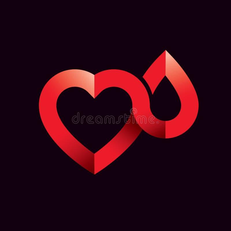 导航心脏形状的例证和血液 Cardiovas 向量例证
