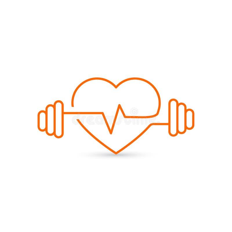 导航心脏概述,哑铃和心电图 象征健康和体育的象 生活