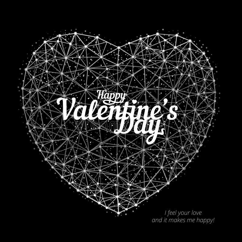 导航心脏的例证对包括多角形、点和线在黑背景的愉快的华伦泰` s天 向量例证