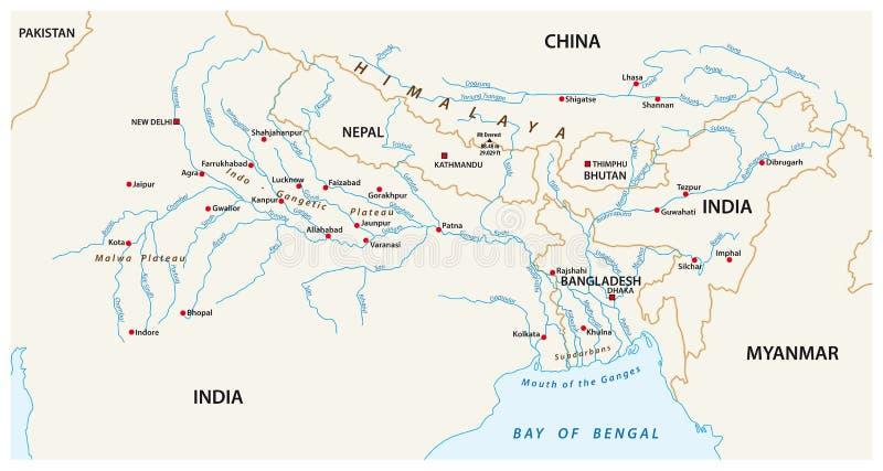 导航恒河的联合的下游区域的地图, Brahma 向量例证