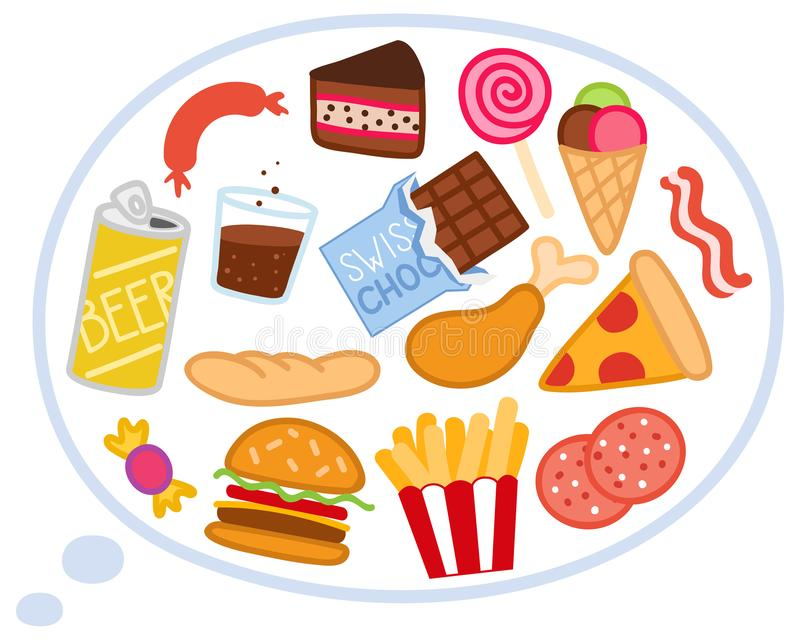 导航想法气球的例证充满不健康的食物,热衷的速食,薄饼,舒适食物,重音 库存例证