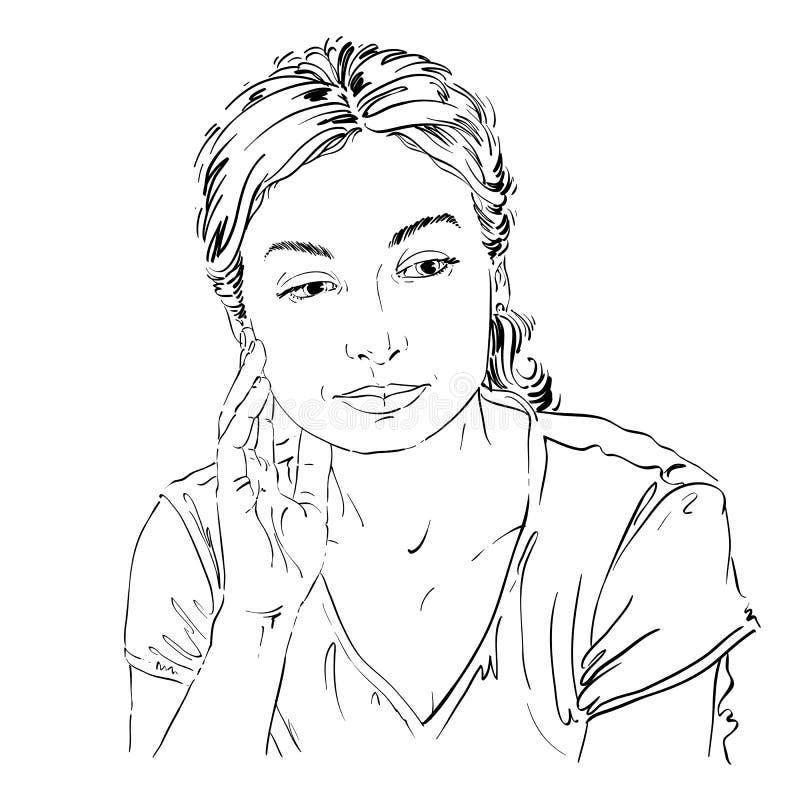 导航想法的妇女图画有时髦的理发的 黑色和 向量例证