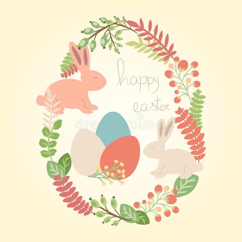 导航愉快的复活节贺卡用兔子、鸡蛋和花 皇族释放例证