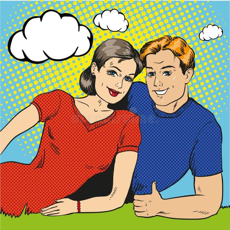 导航愉快的夫妇的例证在减速火箭的流行艺术样式的 向量例证