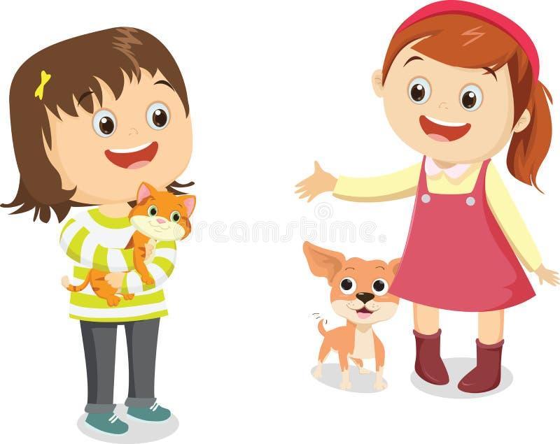 导航愉快的孩子的例证与他的宠物的 向量例证