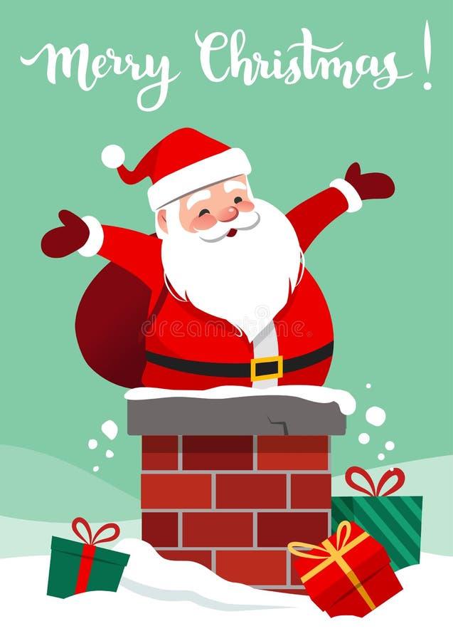 导航愉快的微笑的圣诞老人的动画片例证ch的 库存例证