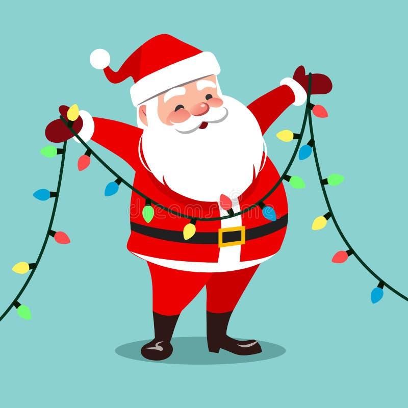 导航愉快的微笑的圣诞老人藏品的动画片例证 库存例证