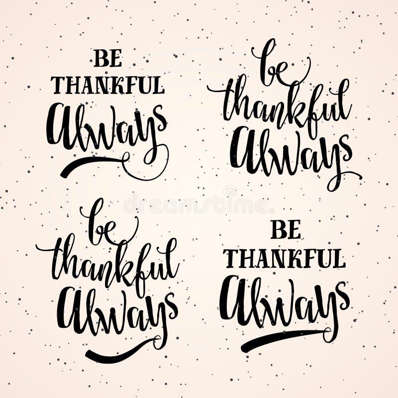 导航愉快的感恩天的例证,总是感激的 向量例证