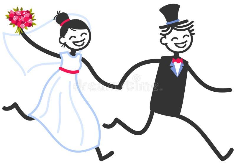 导航愉快的棍子形象握手的新娘夫妇的婚礼例证运行,婚姻邀请模板 皇族释放例证