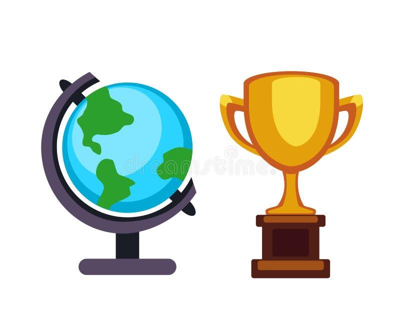 导航战利品冠军杯和地球地球平的象 优胜者战利品奖和胜利奖 体育成功和最佳的胜利 皇族释放例证