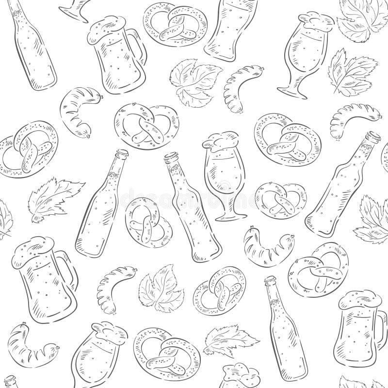 导航手拉的与啤酒瓶、椒盐脆饼、香肠和啤酒杯的啤酒无缝的样式 向量例证