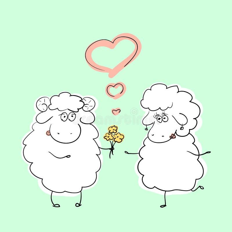 导航手拉的动画片绵羊字符例证夫妇在浪漫情况的 库存例证