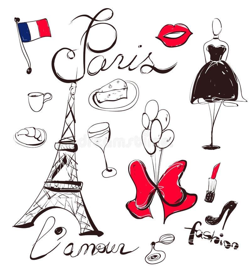 导航手拉的套法国和巴黎标志 向量例证