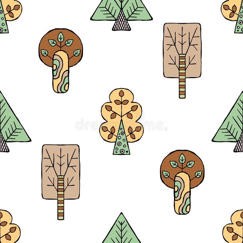 导航手拉的无缝的样式,装饰风格化幼稚树 乱画样式,部族图表例证逗人喜爱的手drawin 库存例证