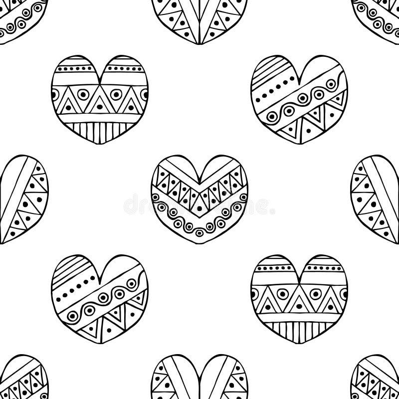 导航手拉的无缝的样式,装饰风格化黑白幼稚心脏 乱画剪影样式,图表例证 向量例证