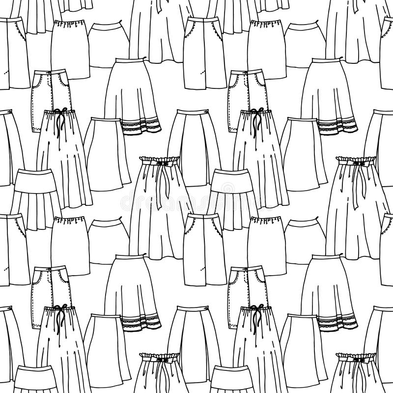 导航手拉的时尚收藏的无缝的样式用不同的明亮的裙子的 库存例证
