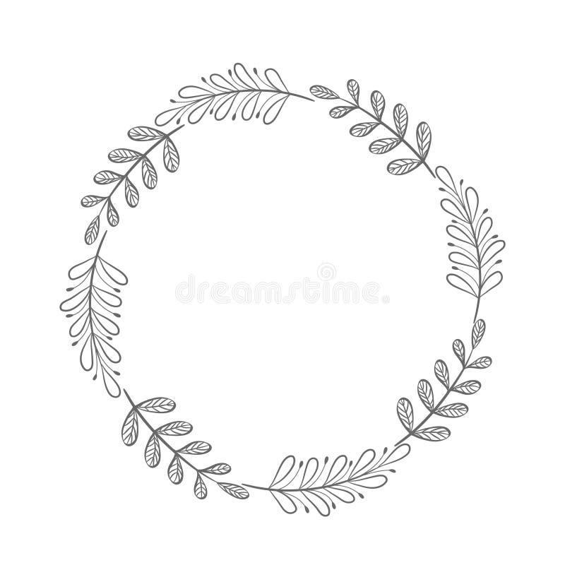 导航手拉的花卉花圈,与叶子的圆的框架,得体 库存例证