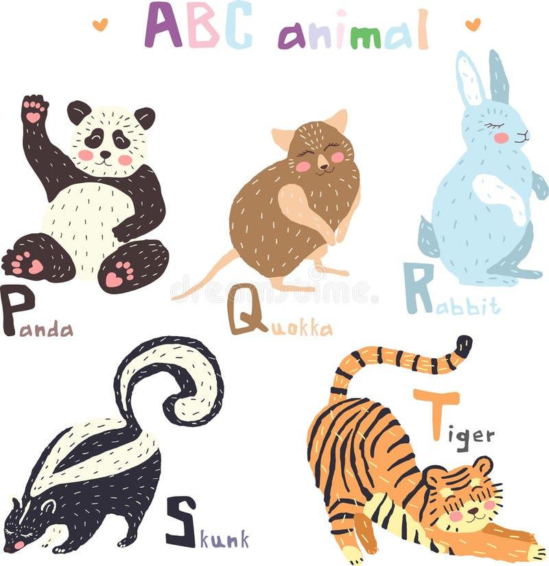 导航手拉的逗人喜爱的abc字母表动物五颜六色的斯堪的纳维亚设计,熊猫, quokka,兔子,臭鼬,老虎 向量例证