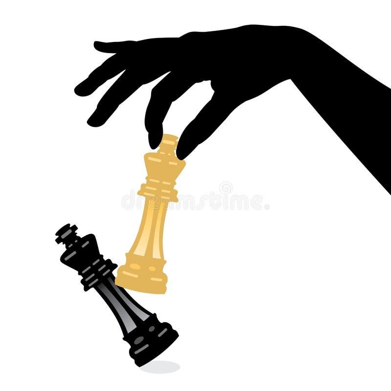 导航打一盘象棋和击败国王 库存例证