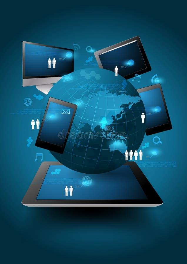 导航技术商业,在计算机上的网络处理绘制 皇族释放例证