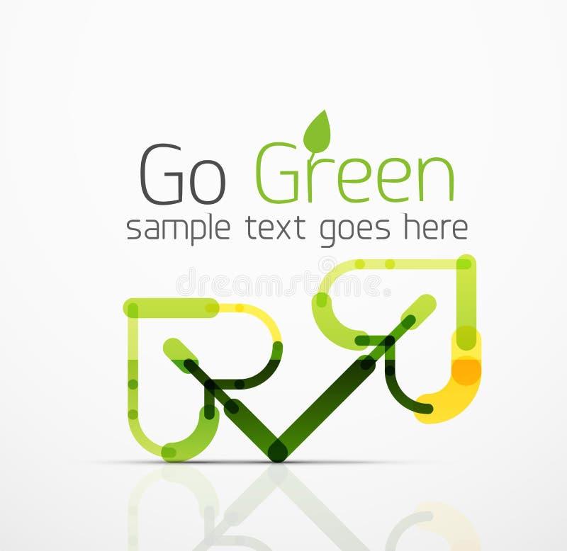 导航抽象商标想法, eco叶子,自然植物,绿色概念企业象 创造性的略写法设计模板 库存例证