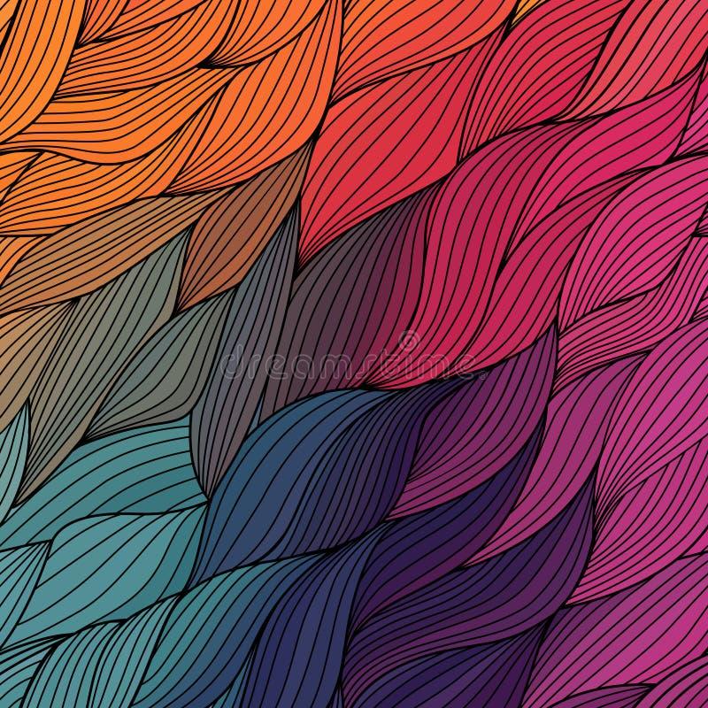导航抽象手拉的波浪纹理,波浪背景 颜色 皇族释放例证