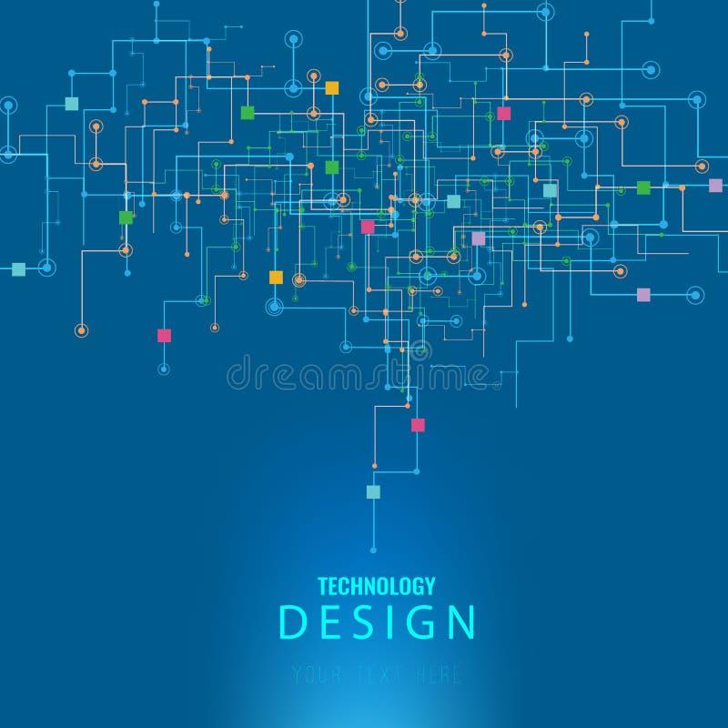 导航抽象未来派电路板,例证高计算机科技深蓝颜色背景 高科技数字式techno 向量例证