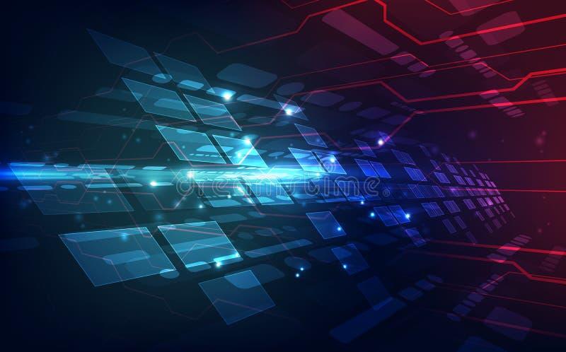 导航抽象未来派高速数据传送,例证高数字技术五颜六色的背景概念 向量例证