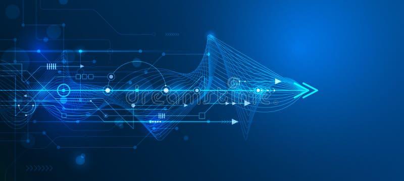 导航抽象未来派电路板和滤网线 皇族释放例证
