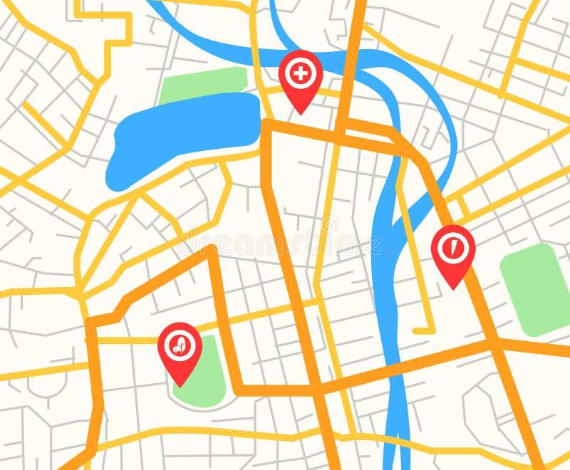 导航抽象现代城市地图的例证与红色别针尖和基础设施象,导航员概念,舱内甲板的 向量例证