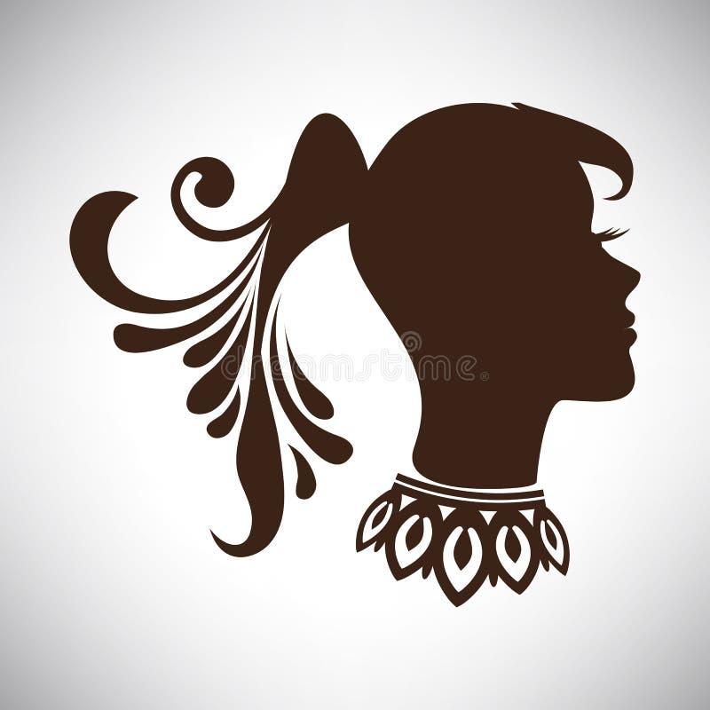 导航抽象美丽的印地安妇女剪影的例证在外形的与尾巴和项链 向量例证